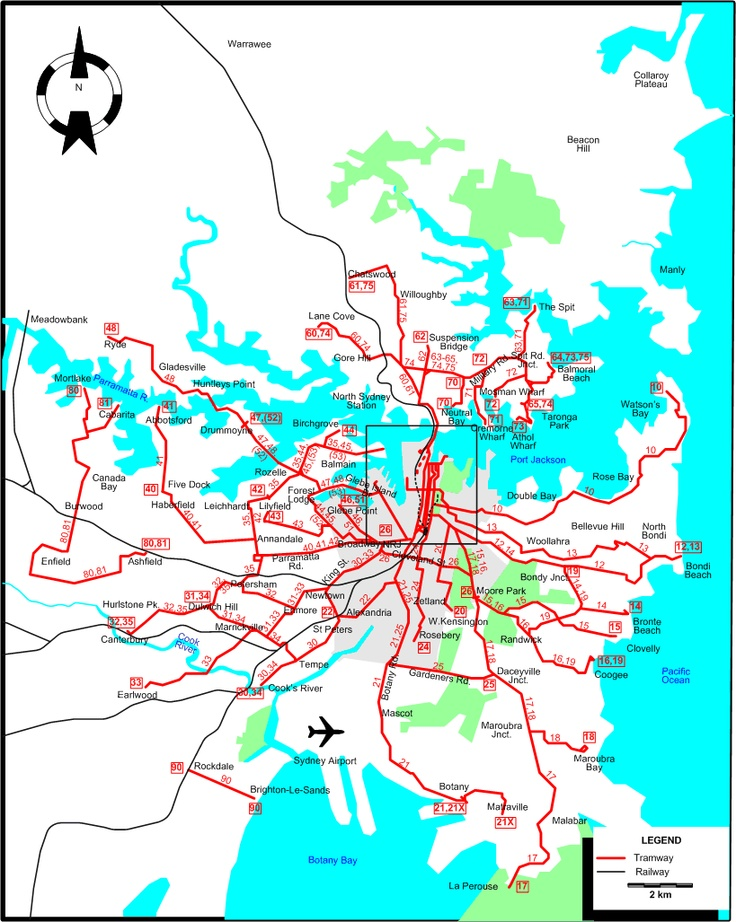 Sydney-1947 tram map