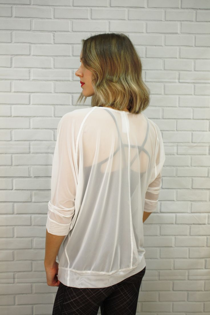 Mesh...sheer...pretty cover up - J76 Leostar Athletica Charlotte mesh top in White and Black