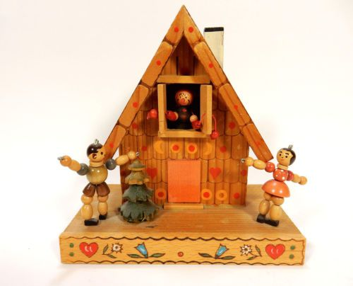 Vintage-Reuge-Swiss-Musical-Movement-Music-Box-Hansel-und-Gretel-Wooden-House
