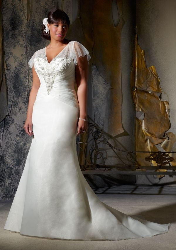 V Neck Mermaid Plus Size Wedding Dress