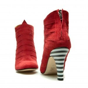 Full leather upper, lining and sole Red suede  Covered heel measures approximately 85 mm/ 3.3 Inches  Low cut topline.  Rounded toe  Zip fastening along back  Size: 36, 37, 38, 39, 40, 41 EU size