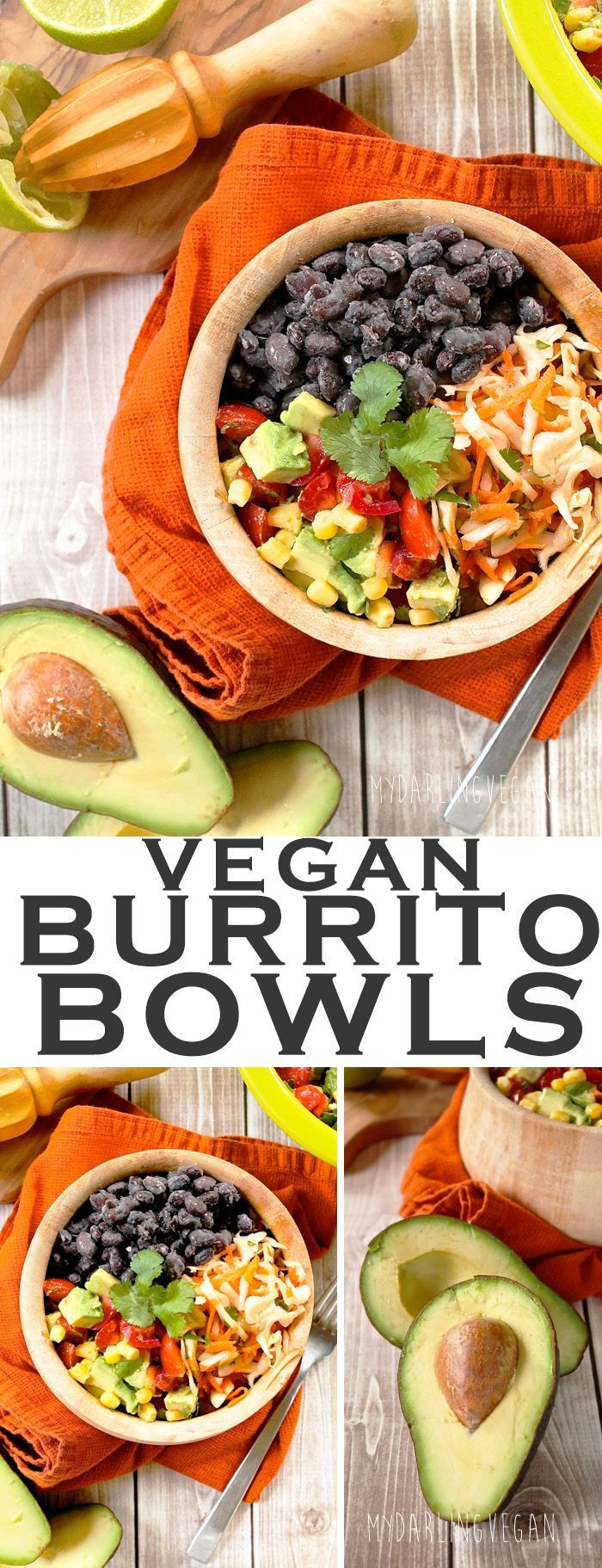 Dig into this vegan Burrito Bowl with avocado corn salsa and carrot cilantro slaw. Click the photo for the full recipe.