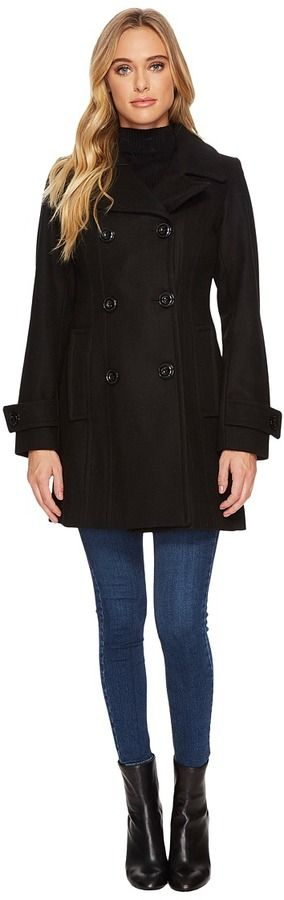 """Anne Klein 33"""" Double Breasted Melton Peacoat"""