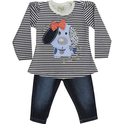Conjunto Infantil Feminino Jeans de Inverno Marinho - Have Fun :: 764 Kids | Roupa bebê e infantil