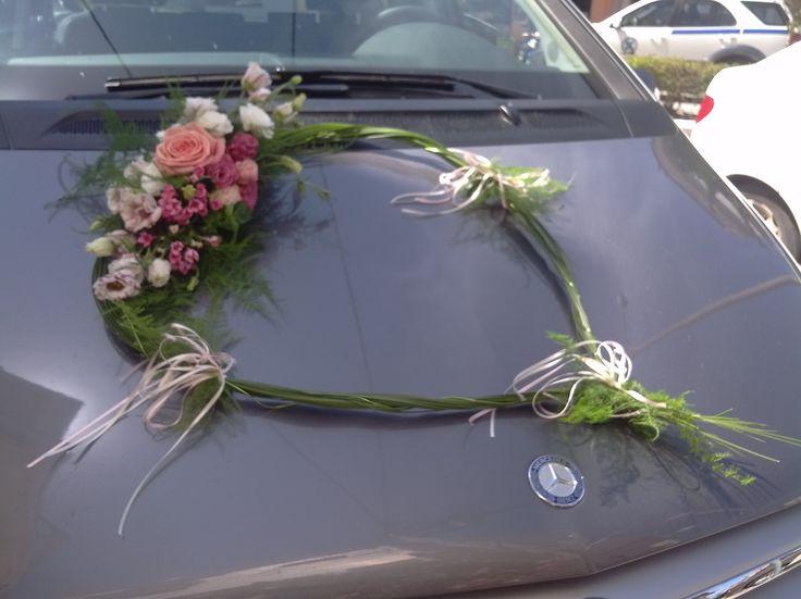 Pink roses natural heart wedding car decoration