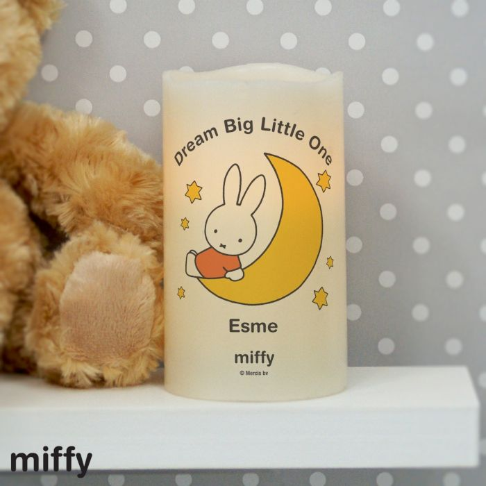 Personalised Miffy Moon & Stars Nightlight LED Candle This Nightlight LED Candle is presented in an organza bag and can be personalised with a short message up to 20 characters (which will appear above the illustration) and then a name up to 12 characters (which will appear below the illustration). £10.99