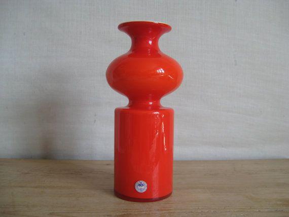 Holmegaard CARNABY  Lutken   Art Glass vase  1960s by danishmood.