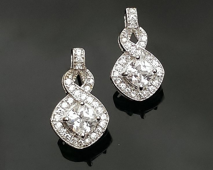 2014 Collection *Princess-Cut Crystal Drop Earrings, Windsor | The Wedding Hair Accessory and Bridal Jewellery Experts.