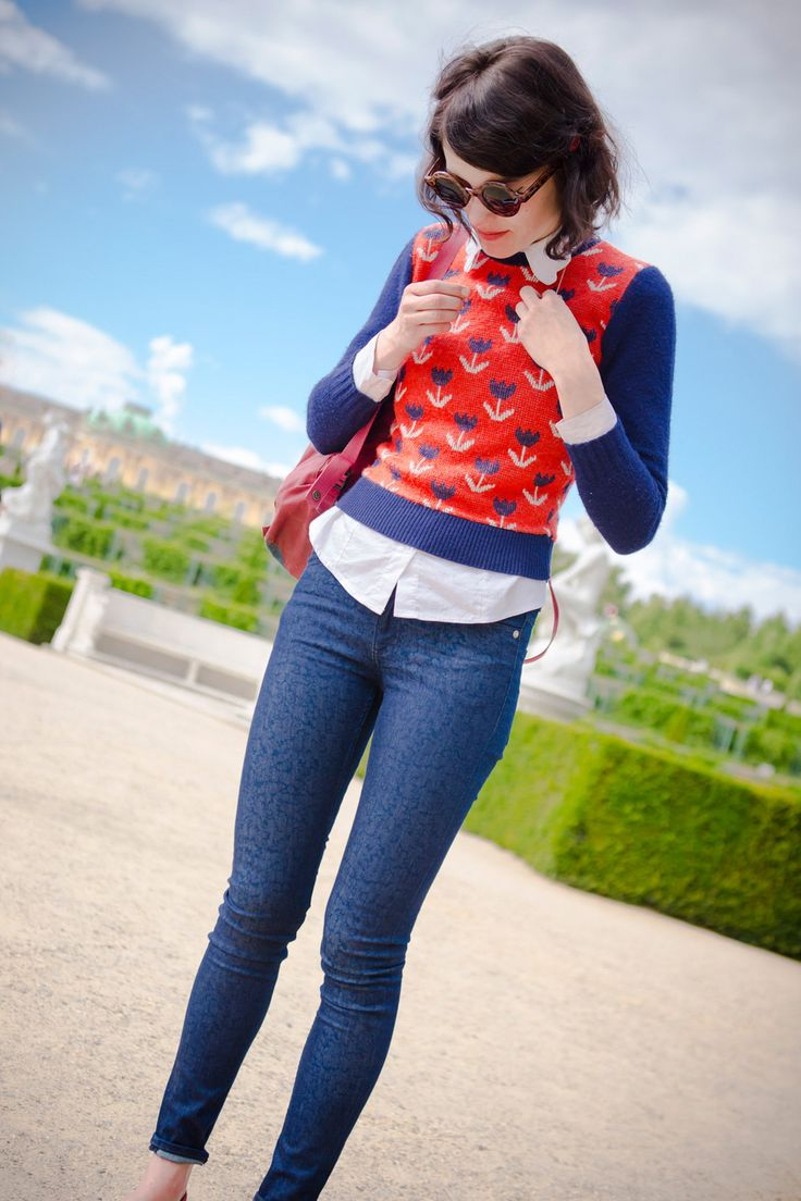 I love this look for a casual look this fall or winter.  Love the leggings, and I love sweaters over button up shirts.
