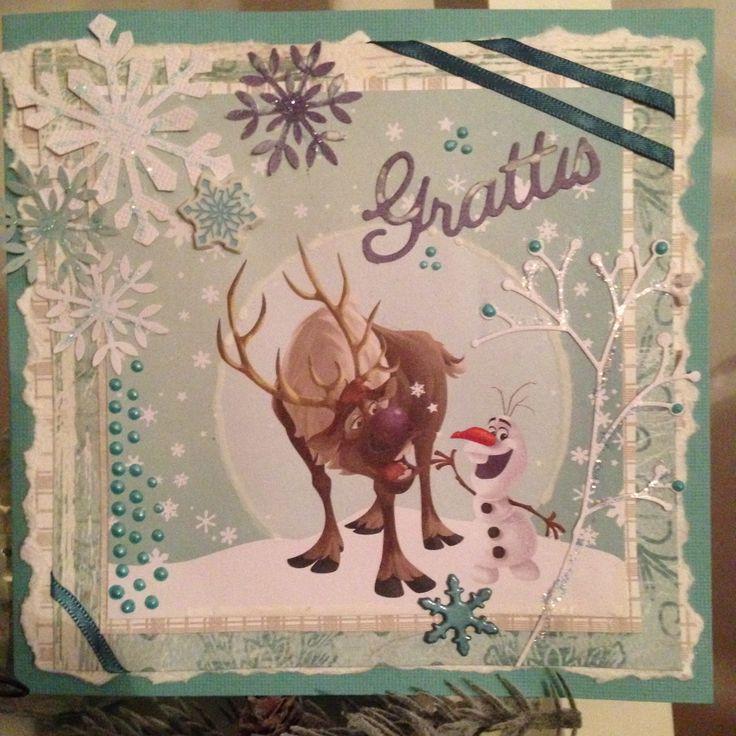 Grattiskort. Frost tema.Olof&Sven.Frozen.Birthday.Birthdaycard.Scrapbooking