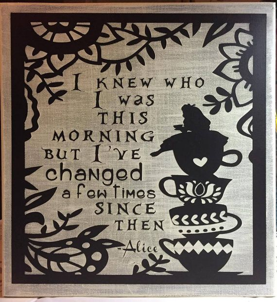"""Custom painted Alice in Wonderland """"I've changed"""" 12x12"""" Wood Sign"""