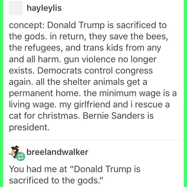 who cares tbh, let's just sacrifice trump, all the other stuff is a bonus