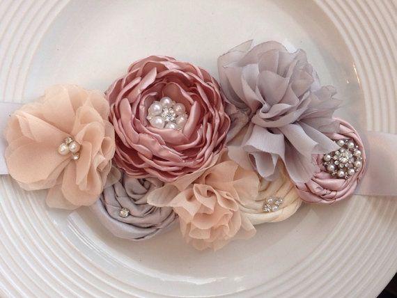 Blush bridal sash by JensBowdaciousBows on Etsy, $44.95