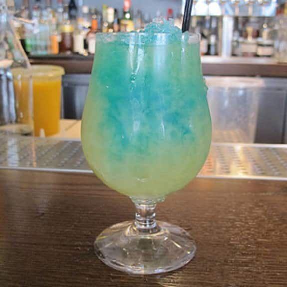 Blue kamikaze cocktail.Vodka based alcoholic mixed drink.