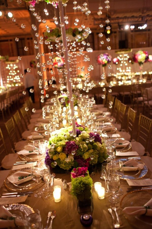 best wedding reception halls in nyc%0A Wedding Reception  Glamorous Centerpieces with Sparkly Dangling Crystals   MODwedding