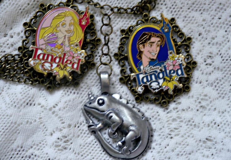 Disney Steampunk Handmade Princess Rapunzel Flynn Rider Pascal Tangled Necklace Pendant. $29.99, via Etsy.