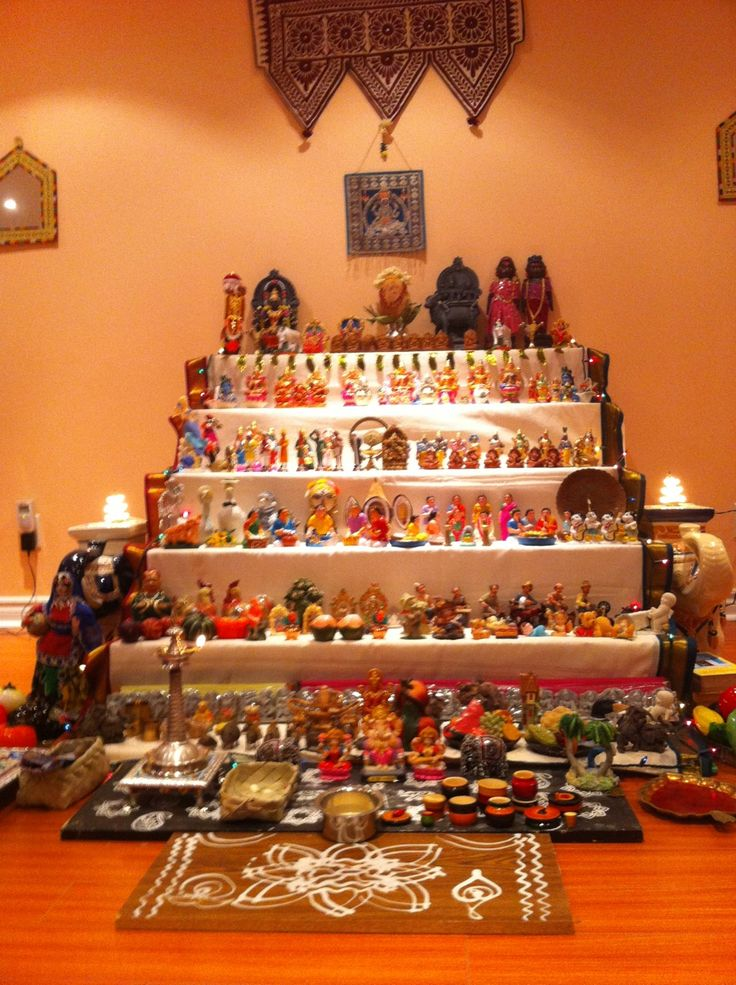 1000 images about navarathri golu ideas on pinterest for Navratri decorations at home