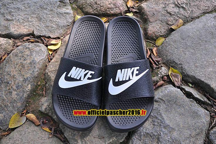 Officiel Nike Benassi JDI QS Nike sandales Pas Cher Pour Homme Noir - Blanc