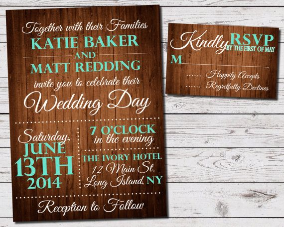 Rustic Wood Wedding Invitation and RSVP Set. Comes in any color to match your wedding colors. Perfect for the outdoor, vintage wedding!