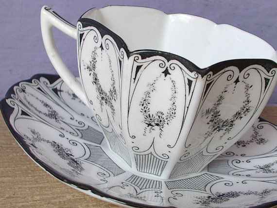 [Antique tea cup, vintage 1920's Shelley black garland tea cup, English tea set, black and white tea cup Art Deco tea cup]