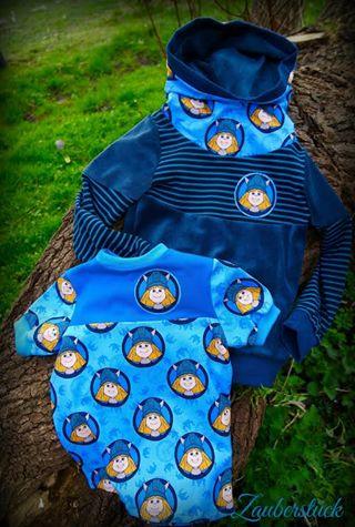"""Uns freut es sehr, manchmal auch neue Probenäher mit in unser Probenäher-Team aufnehmen zu können. Und so haben wir einfach mal an die liebe Pam von Zauberstück den neuesten Wickie-Baumwolljersey in der tollen Farbe himmelblau verschickt. Die hat sich sofort über das neue Stöffchen hergemacht. Entstanden sind ein wunderschöner Hoddie """"Mister Missy"""", ein Letz Style-T-Shirt von Rosile sowie eine Knotenmütze von Aefflyns! Wir danken für die wunderschönen Bilder!"""