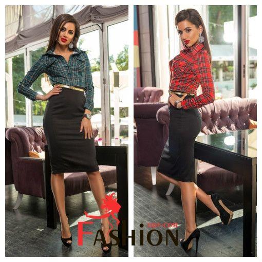 💥1️⃣2️⃣0️⃣1️⃣руб💥 Платье комбинированное с юбкой-карандаш и верх рубашкой в клетку Мод.247 Размер: S; M Производитель: Secret Ткань: Трикотаж Цвета: красный, темно-зеленый, бордовый, черный