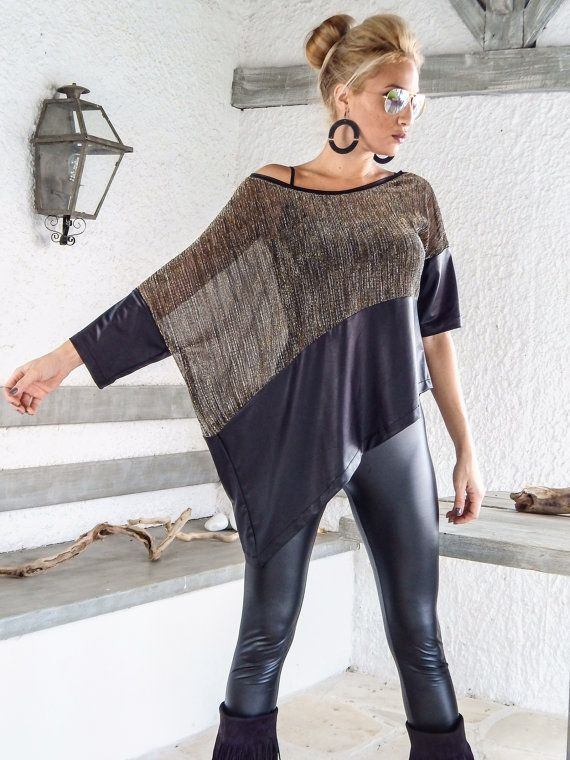 Sequin Asymmetric Top Blouse with Black Leather от SynthiaCouture