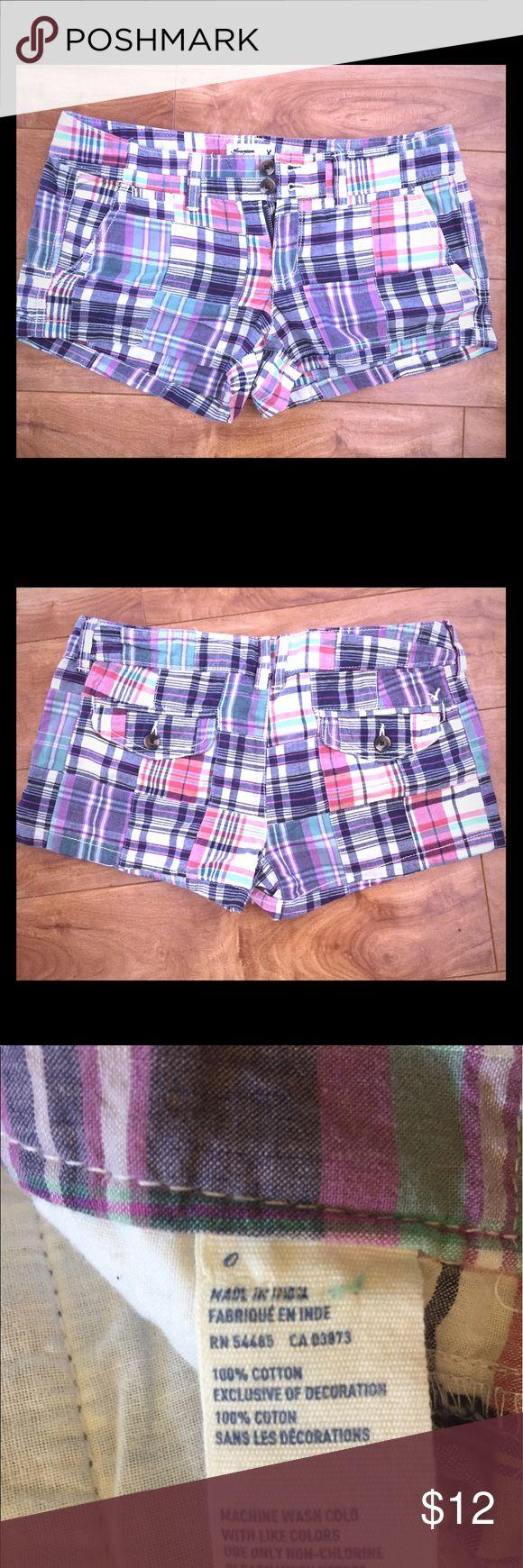 Sz 0 preppy plaid nautical shorts AEO NWT Super cute AEO plaid shorts with back flap pockets. BNWT American Eagle Outfitters Shorts