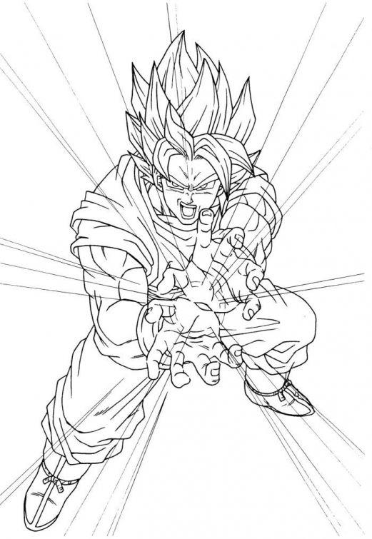 Super Saiyan Goku Releasing Kamehameha In Online Dragon Ball Z Coloring Page
