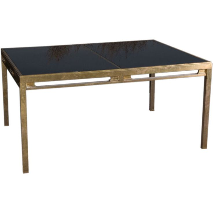 Attractive Jansen Brass And Black Glass Dining Table