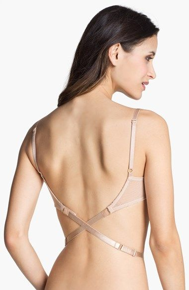 Convert a regular bra to a low-back style with an adjustable strap that hooks on in back and fastens in front.