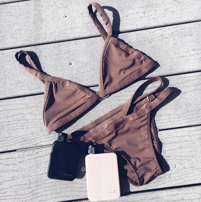 Brown Triangle Bikini Set