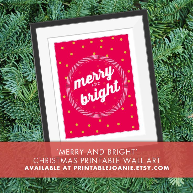 Merry and Bright - Christmas Printable Wall Art - Add this fun and unique Christmas Print to your holiday decor! You just have to print it at home or at any other store that offers printing service and place it in a frame!