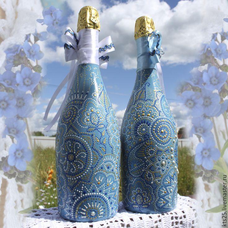 Купить Свадебное шампанское - голубой, шампанское, шампанское на свадьбу, свадьба, свадебные аксессуары, свадебное шампанское