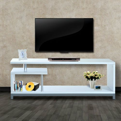 White TV Cabinet Stand Wooden Entertainment Center Living Room Furniture Unit  #Unbranded #ContemporaryModern
