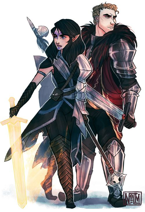Local couple too cool for Thedas. Tagged: #dragon age projectnelm.tumblr (Christie Nelson):