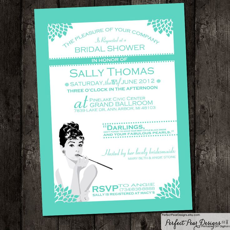wedding party invitation message%0A Breakfast at Tiffany u    s inspired Bridal Invitation  Tiffany Blue and White