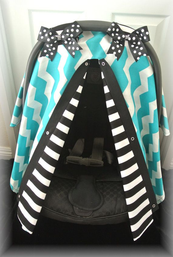 car seat canopy car seat cover gray teal polka by JaydenandOlivia, $39.99