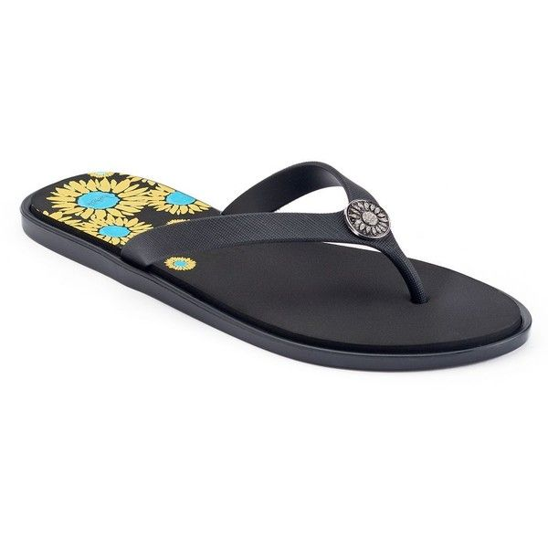 love this life Rhinestone Sunflower Print Flip Flops ($14) ❤ liked on Polyvore featuring shoes, sandals, flip flops, black, metallic flip flops, black rhinestone sandals, sparkly sandals, sparkly flip flops and black slip-on shoes