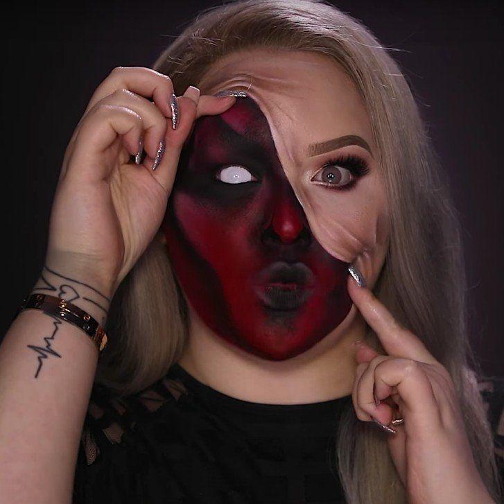 demon pulled up skin halloween makeup tutorial youtube - 727×727