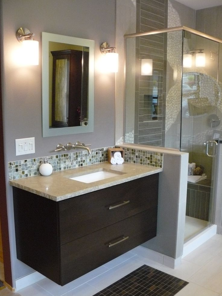 small sink vanity for small bathrooms%0A Brilliant Style Small Bathroom Design with Gray Wall Paint Color and Calm  Black Vanities and Cream