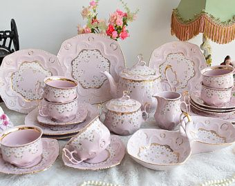 RESERVED for Maya - Tea set vintage porcelain Slav porcelain pink tea cup set HCH tea cups rose porcelain vintage tea set
