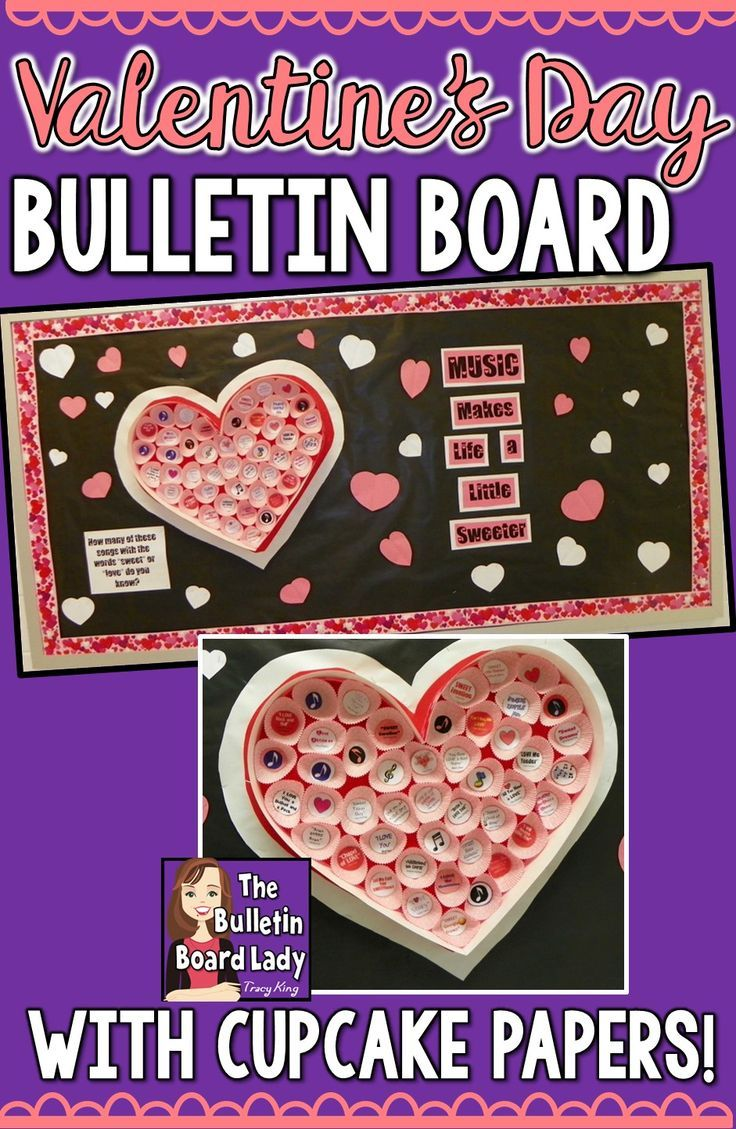 """Valentine's Day bulletin board for any classroom.  Use cupcake papers to make a giant, heart-shaped """"candy"""" box. Read this post to learn how."""