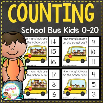School Bus Kids Picture Counting Clip Cards (21 cards) Count the kids on the bus and clip the correct number with a clothespin. Numbers 0 - 20 Cards print 4 per page. This set is included in the Counting Picture Clip Cards 0-20: Bundle 2