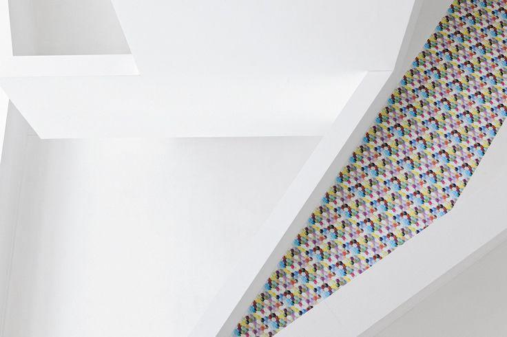 """Dies ist ein Muster aus unserer Themenwelt """"cyberworld"""". Pixelige Darstellungen, digitale Farbverläufe und grafische Muster. #architecture #architektur #drapilux #stoff #design #200° #collection #print #baukasten #weiss"""