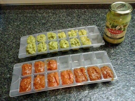 Pesto invriezen in ijsblokjeshouder