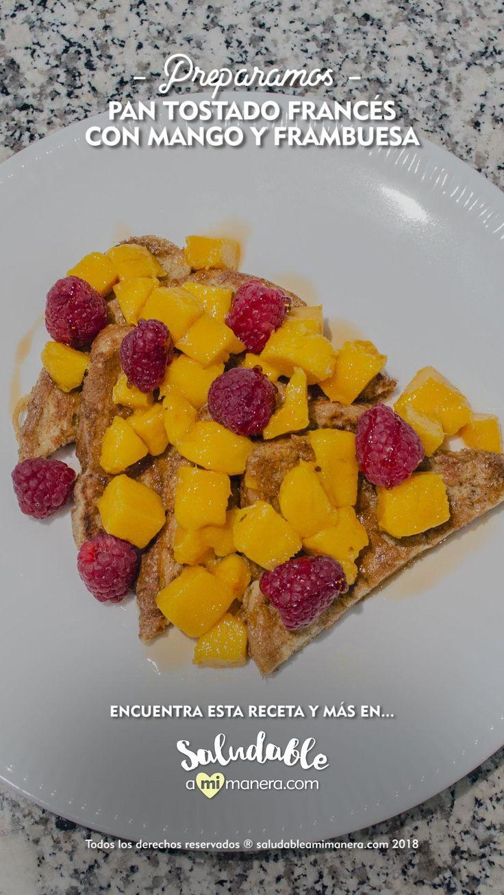 """Una delicia la receta de este #PanTostadoFrances, con poca grasa, fruta fresca picada y muy sencilla de preparar. Para reducirle la cantidad de grasa de la receta original de """"french toast"""", utilizamos rebanadas de #panceroazucar y grasas añadidas. Snack Recipes, Cooking Recipes, Healthy Recipes, Snacks, Yummy Food, Tasty, Mango, Diet, Breakfast"""