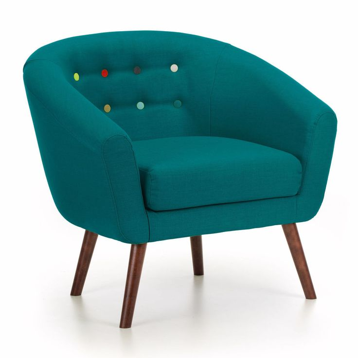 Modern Wooden Armchair Chair Teal Fabric Foam Furniture Small Living Room Wood