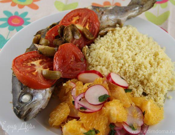 Запеченная рыба по-маррокански с соусом с травами