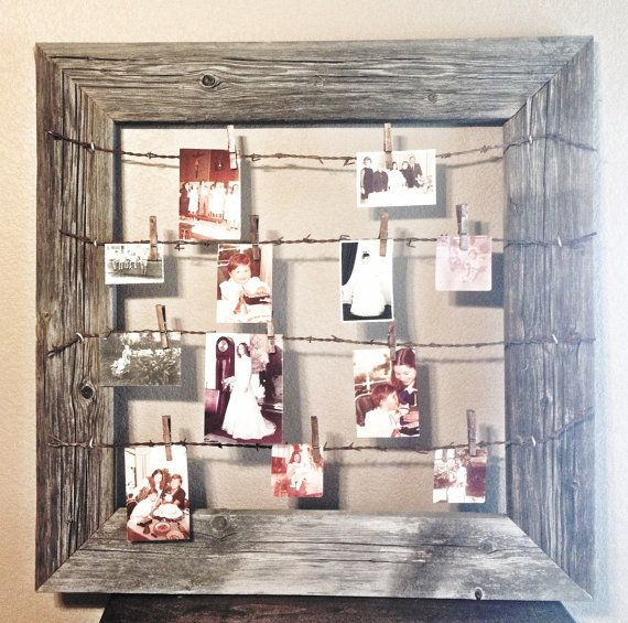 Rustic wood wire clothespin picture frame